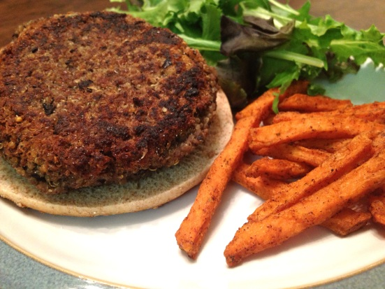 Here's the black bean burger my husband so lovingly began to cook.